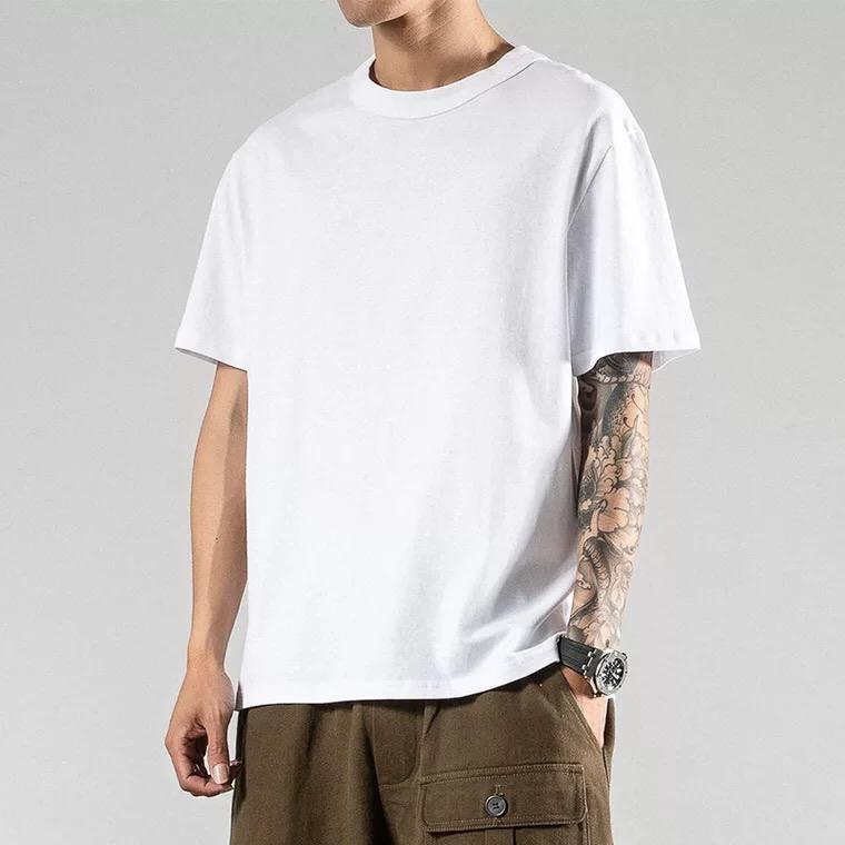 wholesale 100 cotton custom printing logo loose oversize casual hip top high street unisex white blank plain t shirt for mens