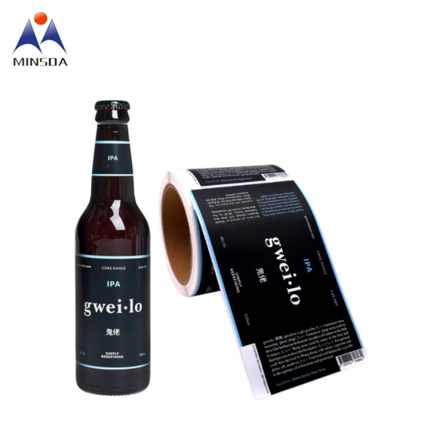 Personnalisé Étiquette de Bière En Papier D'impression D'étiquettes de Boissons Pour Bouteilles De Verre De Bière