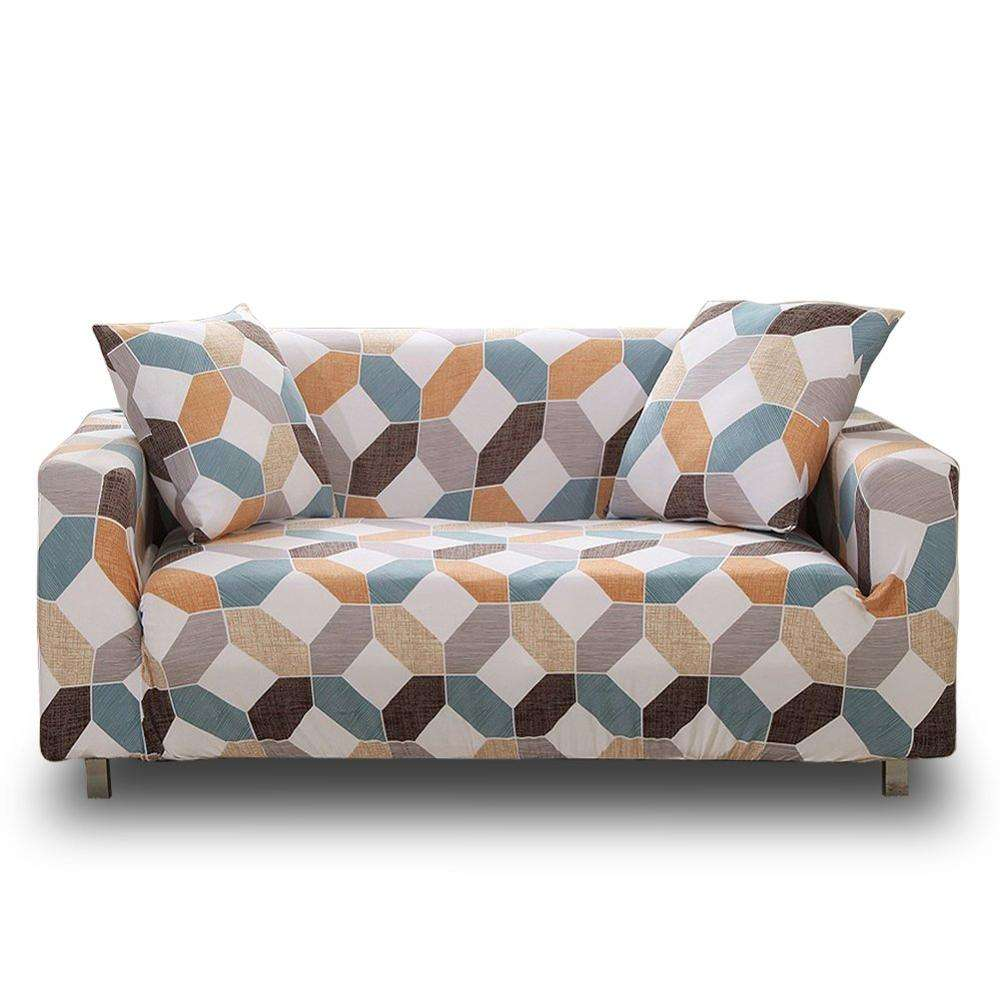printed sofa cover, Polyester Fabric Stretch sofa cover couch with Elastic Bottom and Straps