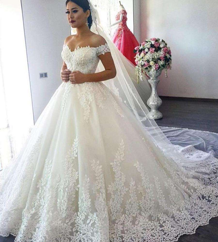 NE119 Elegant Lace Ball Gown Long Sleeve Wedding Dresses 2020 Gelinlik Sweetheart Sheer Back Princess Illusion Bridal Gowns