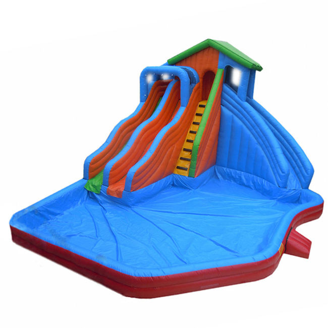 High quality inflatable water park water slide bouncer house inflatable slide with pool for sale