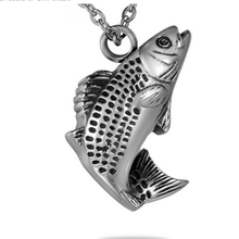 Tone Lucky Fish Pendant Cremation Urn Jewelry Keepsake Memorial Necklace Stainless Steel