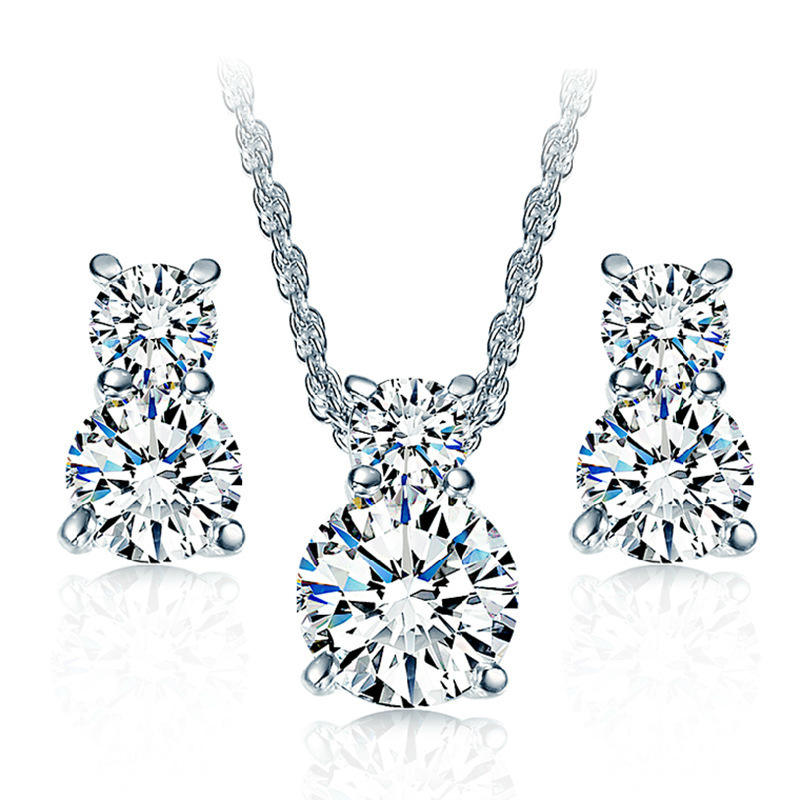 Fashion jewelry set Two CZ necklace earrings jewelry set for women wedding jewelry 8 words endless love free shipping