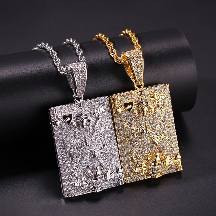 Fashion Zirconia Real Gold Plated Square Pendant Necklace Tennis Chain For Men'S Hip Hop Jewelry