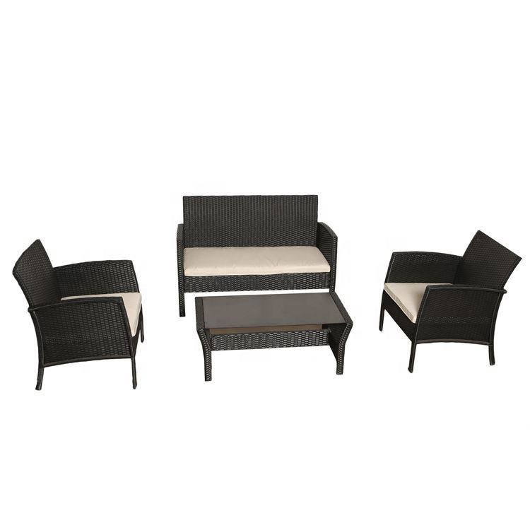Cheap pe rattan 4pcs set garden sofas outdoor sofa kd for sale patio furniture assembly