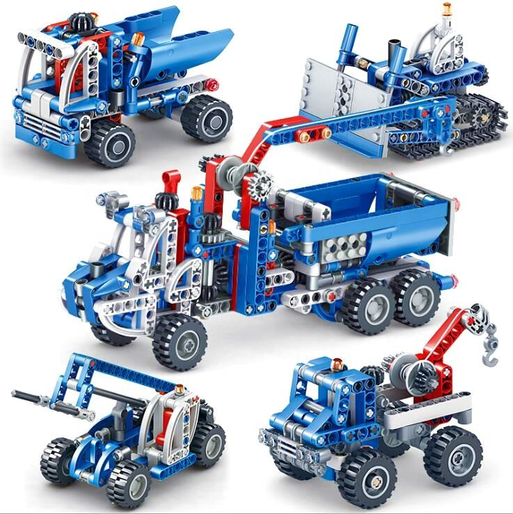 Amazon kids gear technology STEM toys Power remote Engineering truck block 2in1 4in1 Creative technic Assembly diy Toys (PA0027)