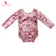 Fall and Winter Baby Clothes Infant &Toddler Clothing Long Sleeve Velvet Onesie With Bow Tie Opening Back Baby Girl Romper