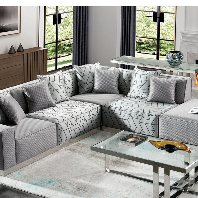 modern luxury gray new l shaped french 5 seater chair sofa living room set living room sofas
