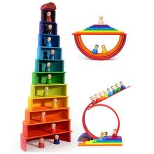 Montessori educational Rainbow Stacker child manufacturer wooden toy set