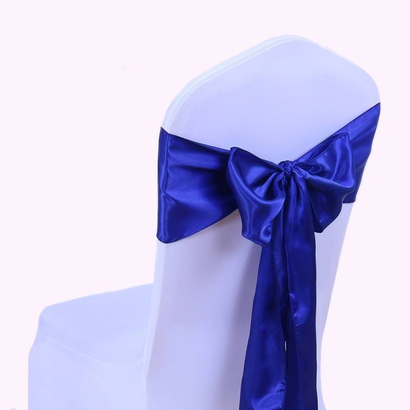 Wholesale royal blue smooth bow tie back satin chair sashes