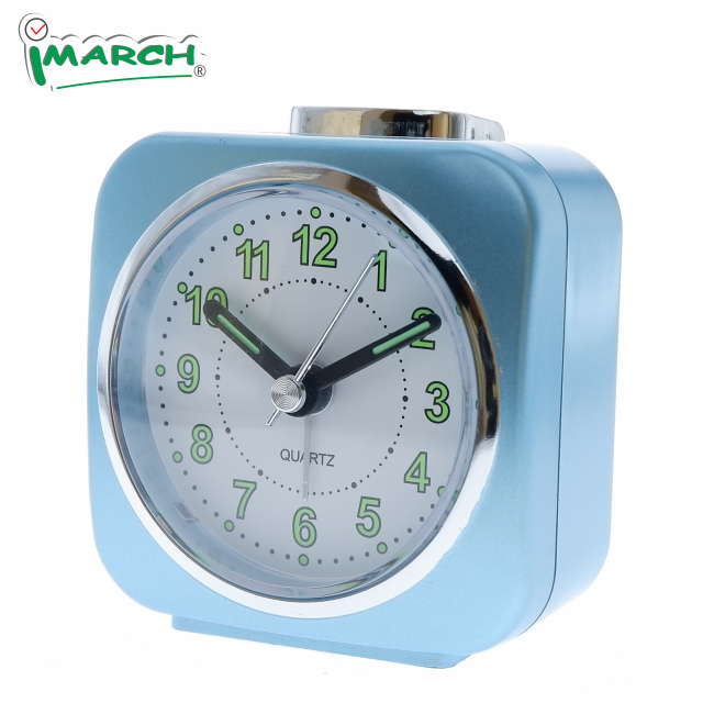 2020 IMARCH chrome ring plastic analog quartz silence movement crescond beep snooze light abs desk alarm clock
