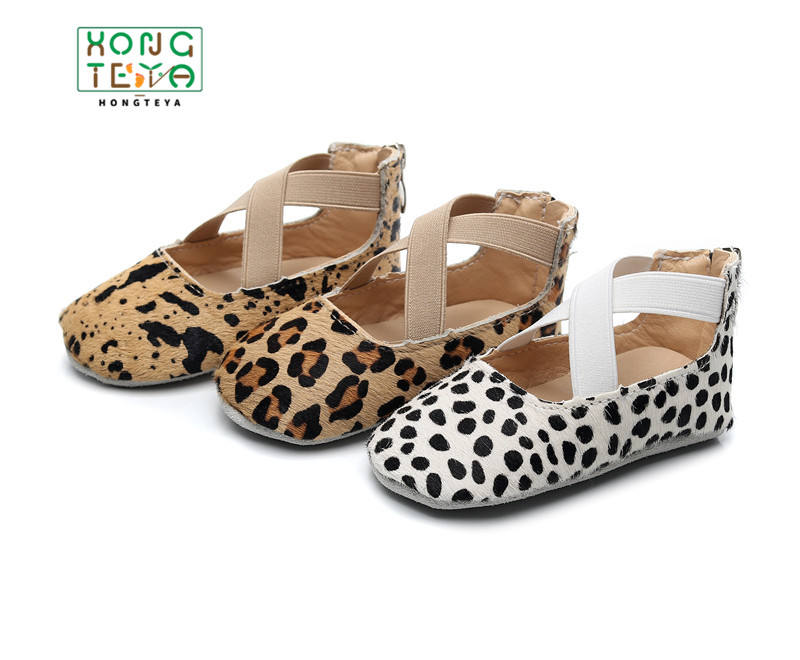 2019 new style real leather Leopard Print soft sole first walkers baby toddler shoes