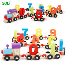 Children building blocks wooden number train toy funny train toy for children