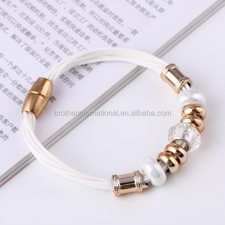 2016 Hot Sale Charm Bracelet With Colorful Glass Beads Big Hold Beads Magnetic Clasp bracelets