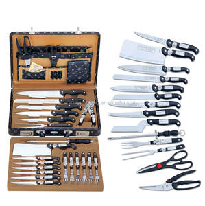German 24pcs stainless steel kitchen knives set with cheese knife in leather suitcase