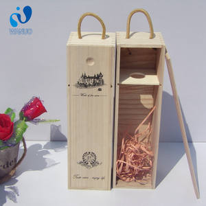 WanuoCraft Custom Logo Paulownia Wooden Red Wine Boxes For Wine Bottle Wood Box Packing Gift Boxes