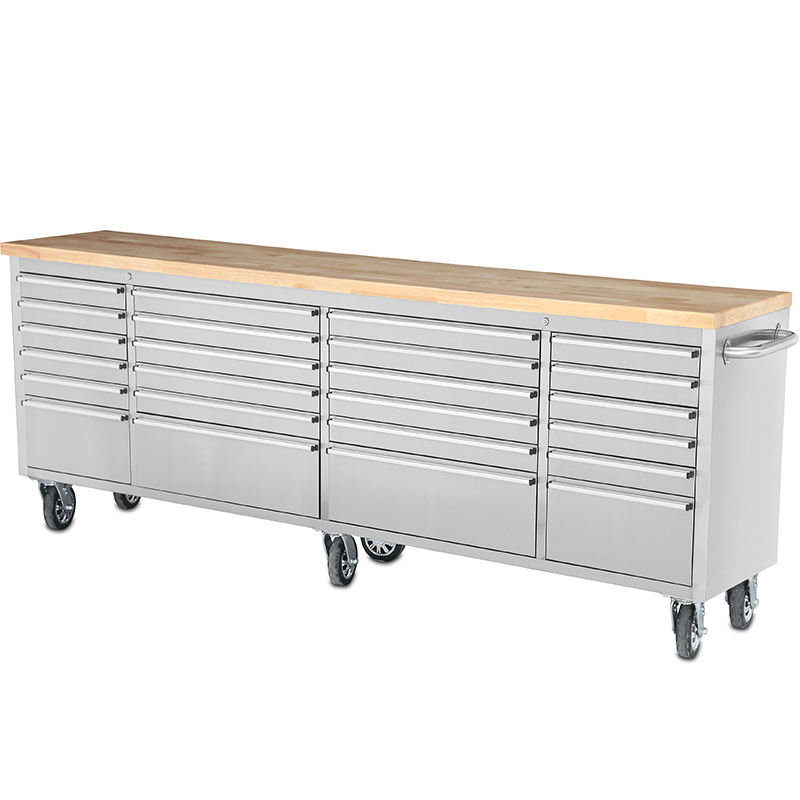 "96"" INCH STAINLESS STEEL 24 DRAWER WORK BENCH TOOL CHEST CABINET"