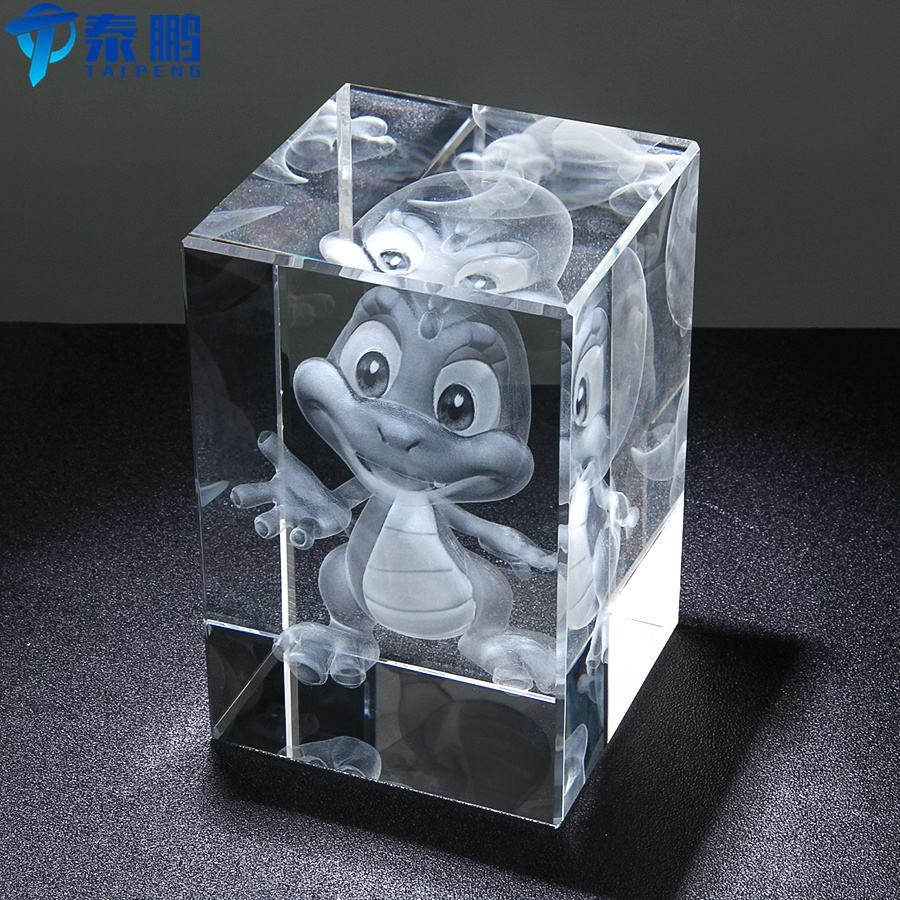 3D laser engraving cartoon character crystal model for corporate business gift favor or home decoration