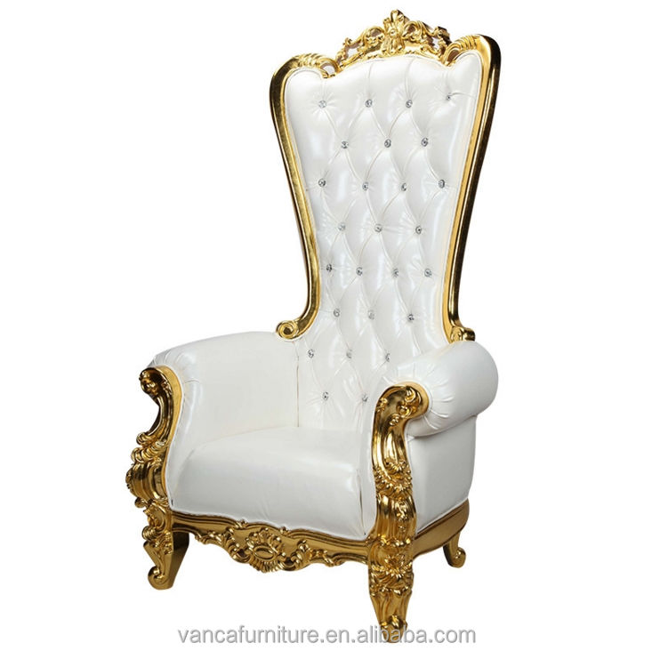 Extra LARGE white leather Crystals Carved gold WOOD King Queen THRONE CHAIR