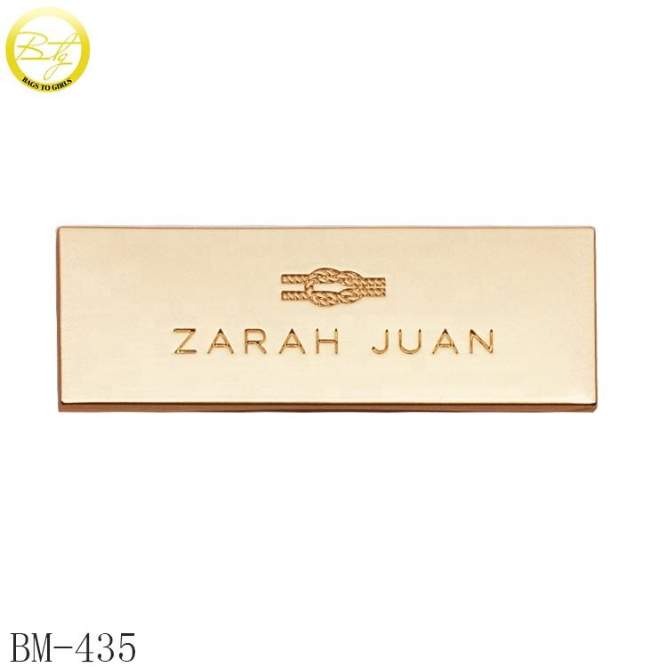 Custom bags private label logos matte gold stamped name metal plate for luggage