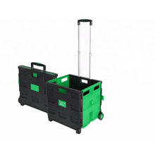 Plastic Shopping Portable Handcart Folding Trolley Cart with Lid