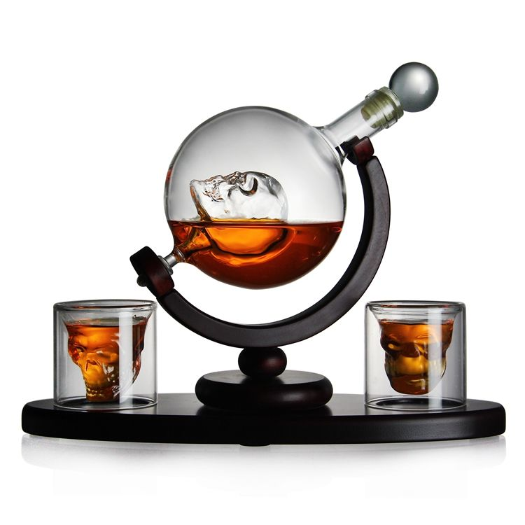Hot Selling Pyrex Glass Decanter 850ml Skeleton Shape Whisky Vodka Bourbon Decanter Set With 2 Whiskey Glasses
