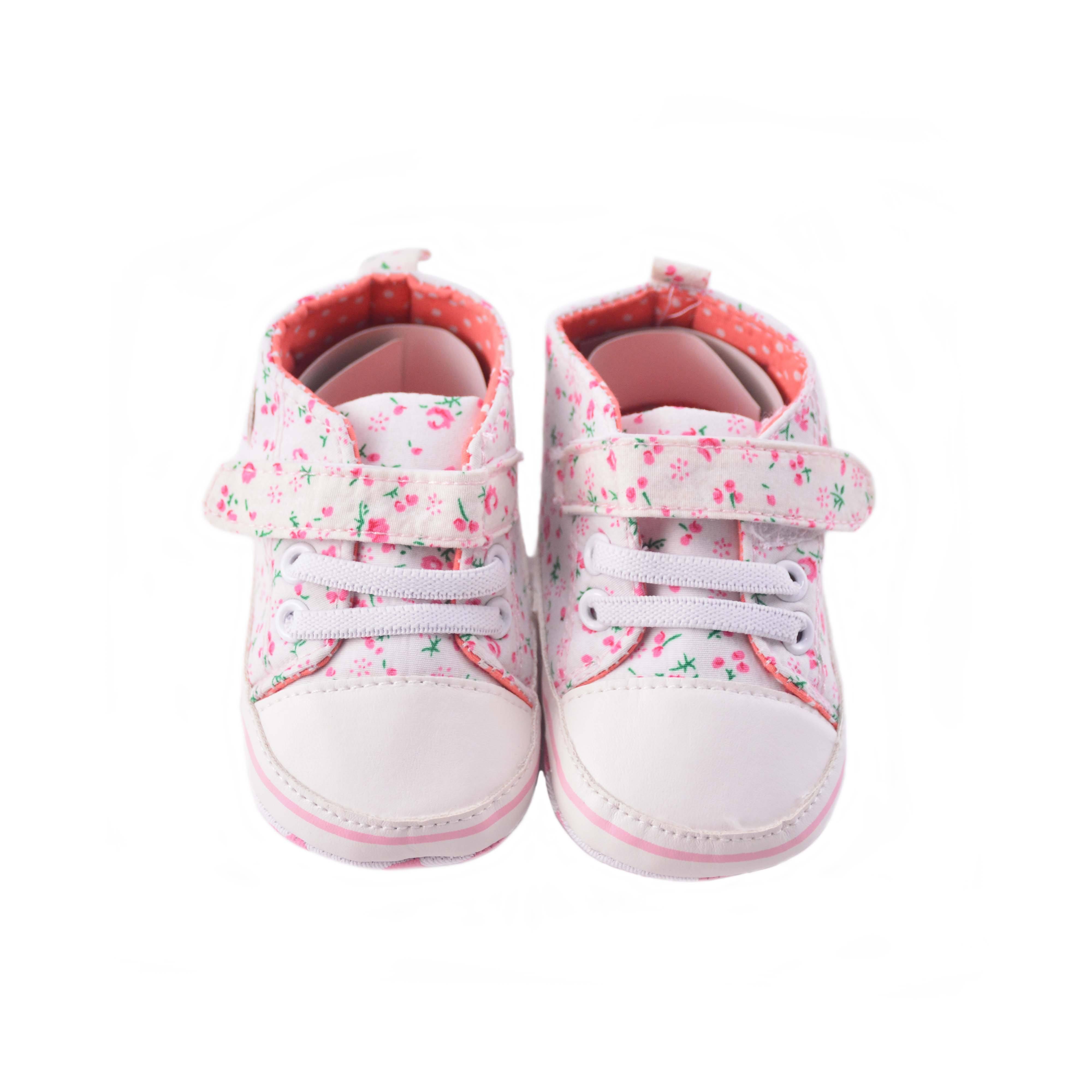 Flower Print Poplin Crib Shoes Infant