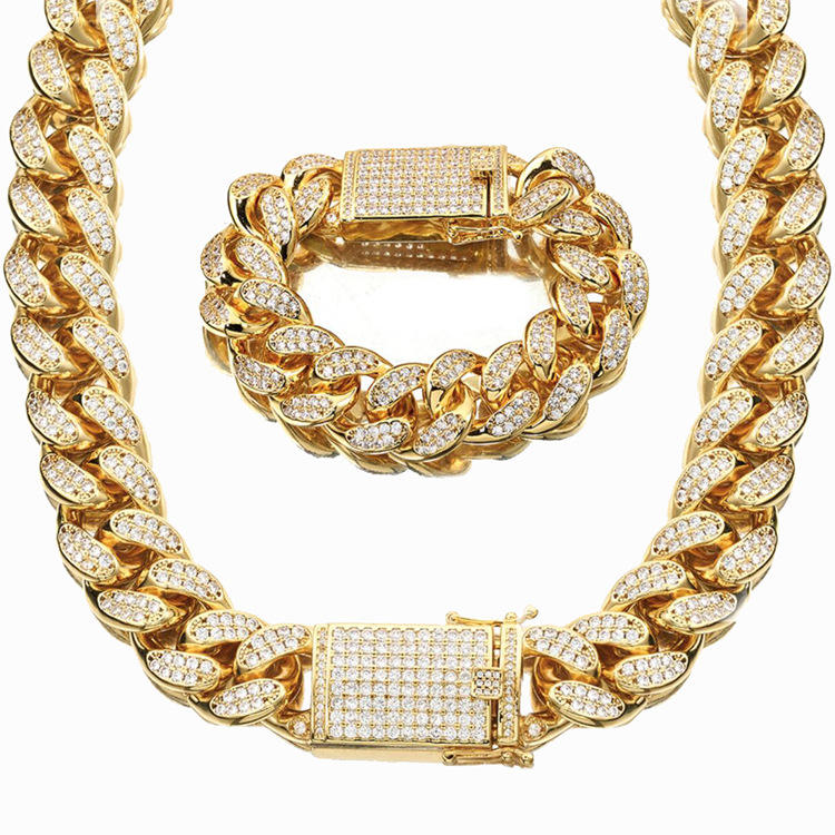 Fancy Copper Material Men's Jewelry 18mm Full Diamond Cuban Chain Gold Plated Heavy Chain Necklace