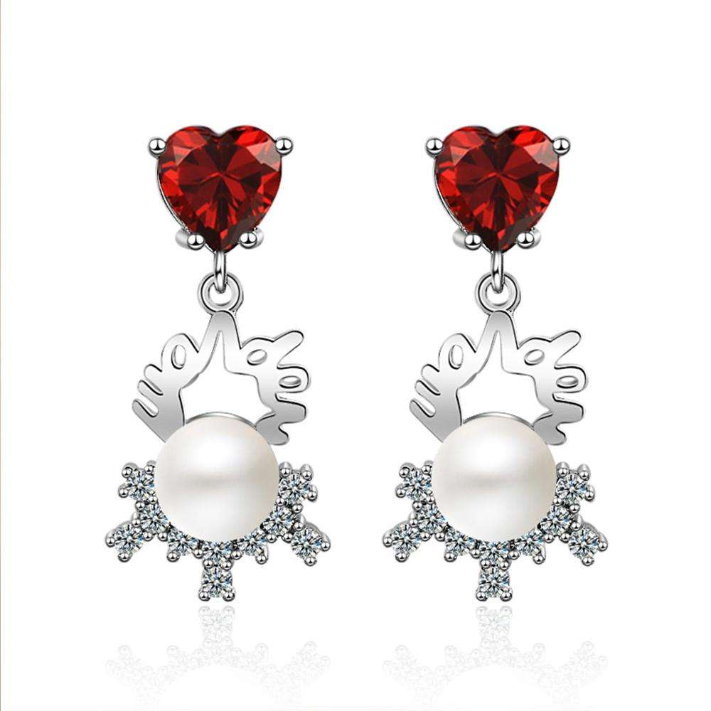 Red Heart 펜 던 트 Drop Earring 암 Fashion Accessories Sweet Crystal Brief 우아한 Silver Color 펄 매달려 Earring