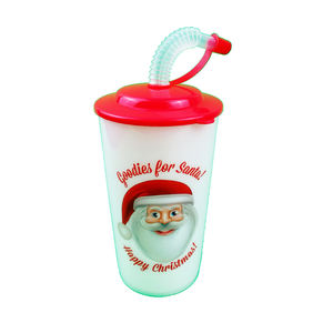 Christmas Promotional 3D Lenticular Printing OEM Colorful Kids reusable plastic cup with lid and straw