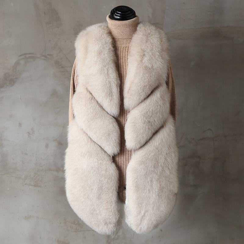 Wholesale Warm Elegant Fox Fur Gilet Real Fur Waistcoat Women Genuine Fox Fur Vest