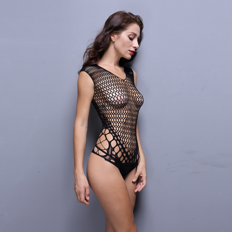 Free Size Halter Bodysuit Underwear Body Stocking Sexy Bodystocking Fishnet Lingerie Mini Dress