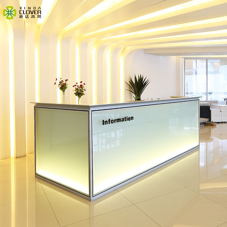 Aluminum frame glass panel standard size l shape counter hotel used standing white modern office reception desk