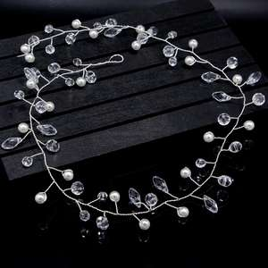 Wedding Pearl Crystal Hair Vine Long Bridal Headband Hair Accessories for Bride