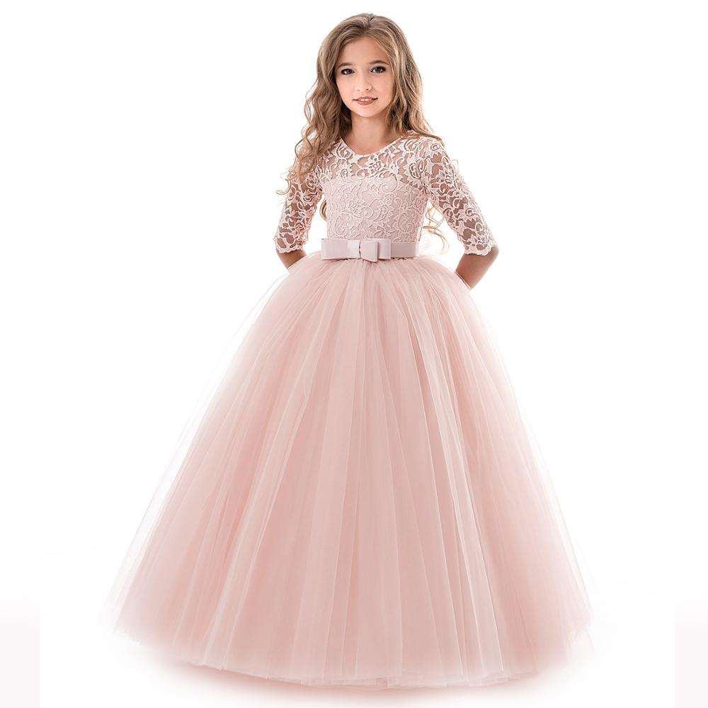 Kids Bridesmaid Lace Girls Dress For Wedding Party Dresses Evening GirlロングCostume Princess Children Fancy 5 - 14Y Y10670