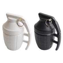 cool design ceramic tall mug with lid and metal accessories
