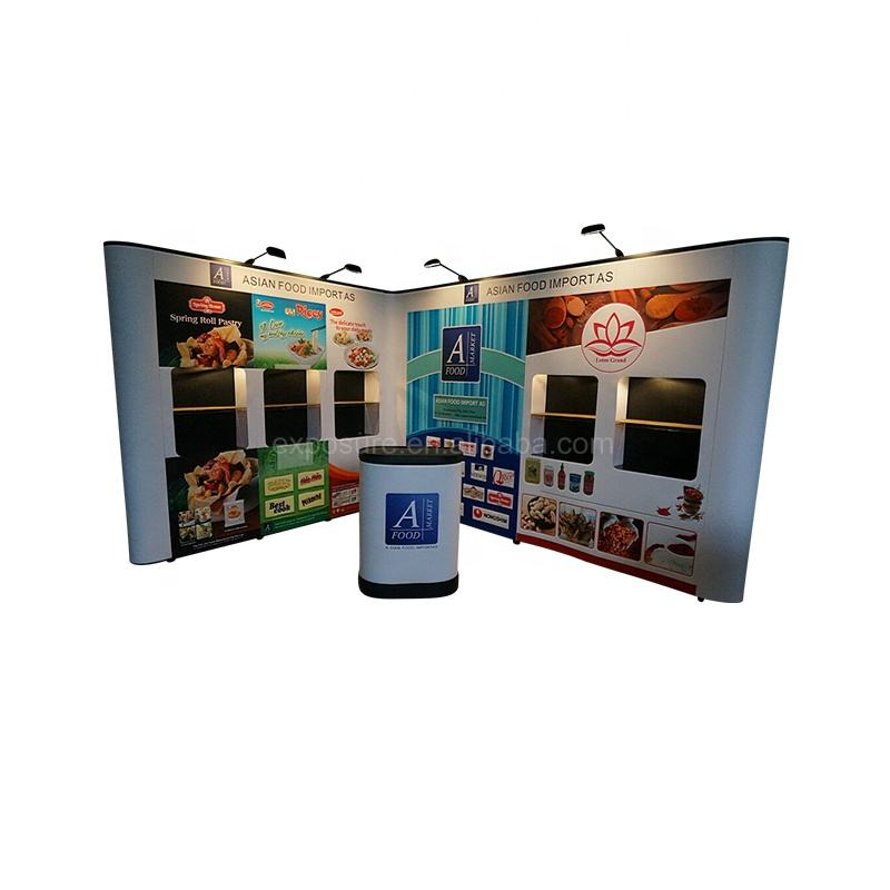 Hot sale custom design portable aluminum profile exhibit booth pop up display banner stand