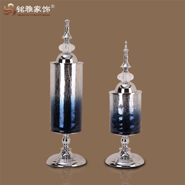 European home furnishing flower glass vase with metal base wedding table decor decoration