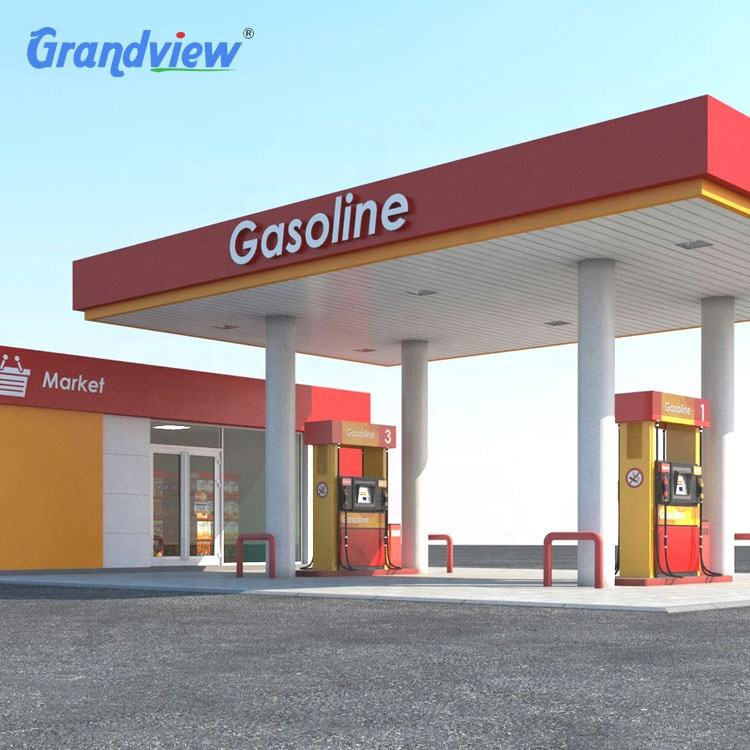 Aluminium-plastic panel 3D fuel stations canopy cost for gas station