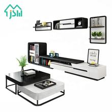High gloss front TV wall mounted cabinet stand living room unit furniture set