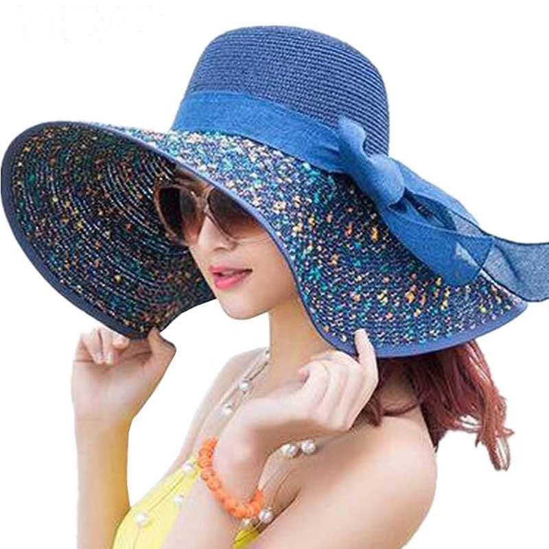 Fashion Straw Hat Ribbon Big Floppy Brim Visor Hat Summer Beach Visor Cap