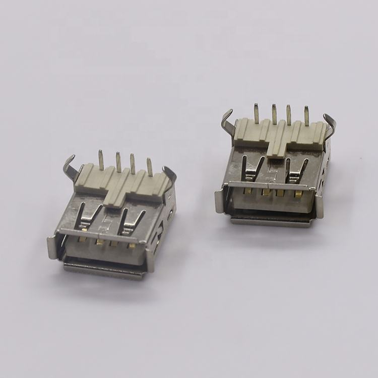 Charging Port Usb Port Connector Customized 90 Degree Crimping Bend Legs Standard Vertical 4 Pin Usb Charging Port Connector