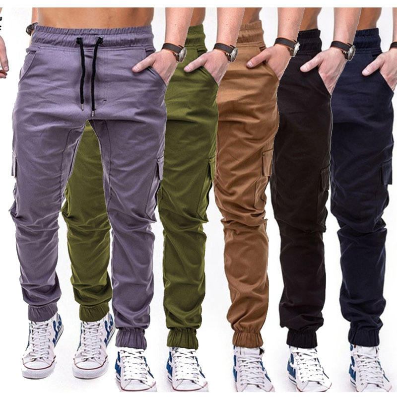 Men's Retro Cargo Trousers Combats Work Loose Workwear Pants Outdoor Hiking Casual Trousers