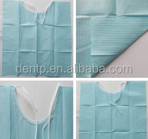 2ply paper + 1ply poly disposable absorbent dental bib with tie