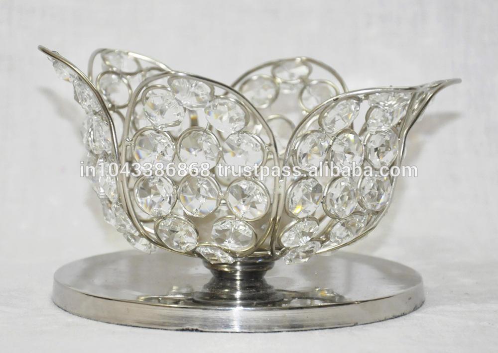 indio decorativos para el hogar de diseño en forma de flor de cristal único titular de la vela
