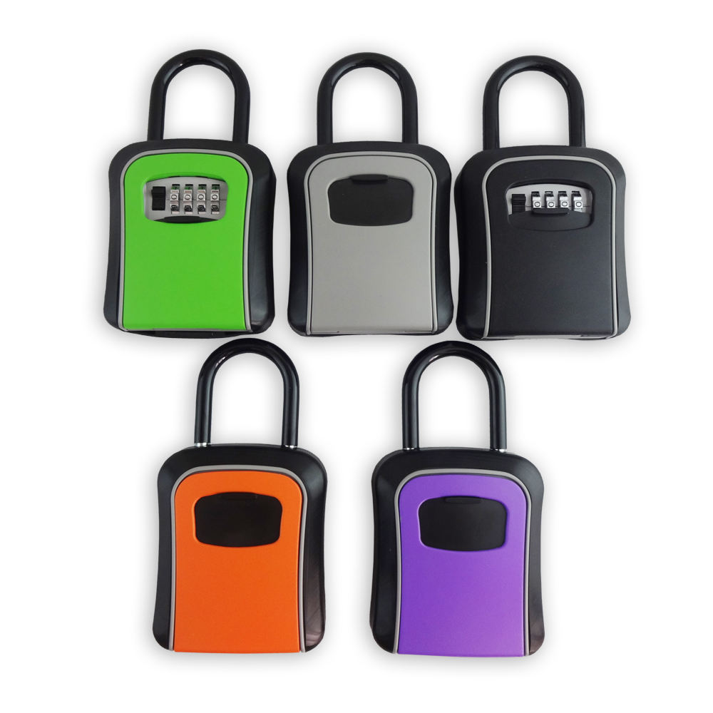 Outdoor Storage Waterproof Key Hide Box Portable Combination Lockbox With Hanger Shackle Color Key Safe Box
