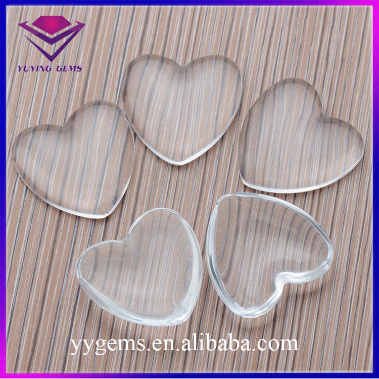 Flatback 20x20mm Heart Shape Clear Transparent Glass Dome Cabochon Gemstone Wholesale