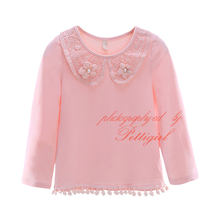 Latest Spring And Summer Girls T Shirts With Peter Pan Collar Adorable Girl Shirts Fancy Baby Wear GT41015-08