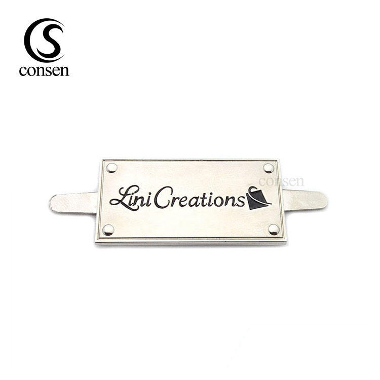 Silver bag labels personalized metal brand engraved logo tag for wallet/hats