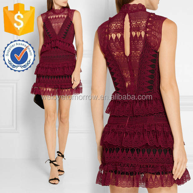 Women Latest Burgundy Tiered Guipure Lace Mini Dress Manufacture Wholesale Fashion Women Apparel(TS0067D)